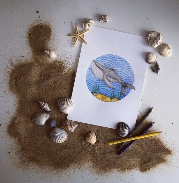 Plakat w oceanie - Wieloryb