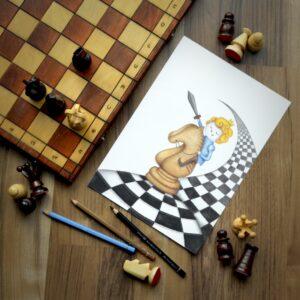 Plakat król szach